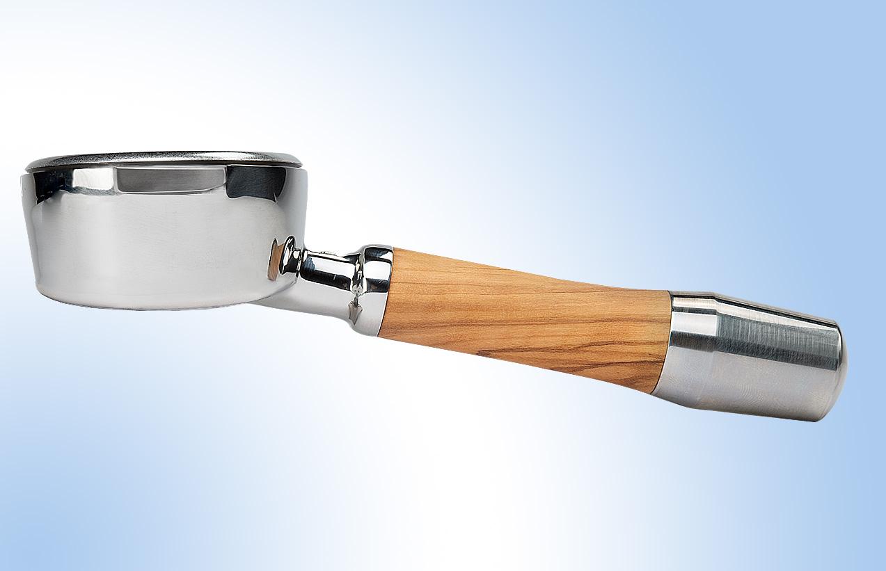 Stainless steel-wood portafilter bottomless - ECM